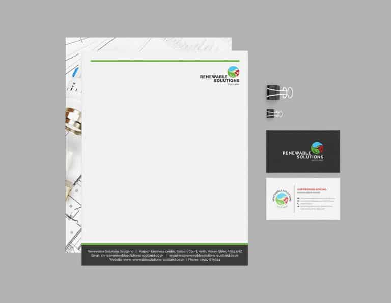 Renewable Solutions Scotland Letterhead and business cards